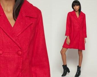 60s Dress Mini Babydoll Dress Mod Red Jacket Dress Button Up 70s Vintage Empire Waist Mad Men Long Sleeve Sixties Minidress Extra Small xs