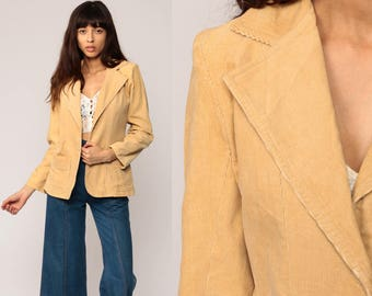 Corduroy Blazer Jacket 70s Blazer Jacket Preppy Tan Professor 1970s Hipster Fitted Women Vintage Collared Coat Boho Small Medium