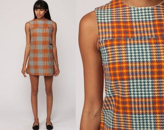 Plaid Dress 60s Mod Wool MICRO Mini School Girl Checkered 1960s Shift Orange Blue Vintage Sleeveless Sixties Preppy MiniDress Extra Small xs