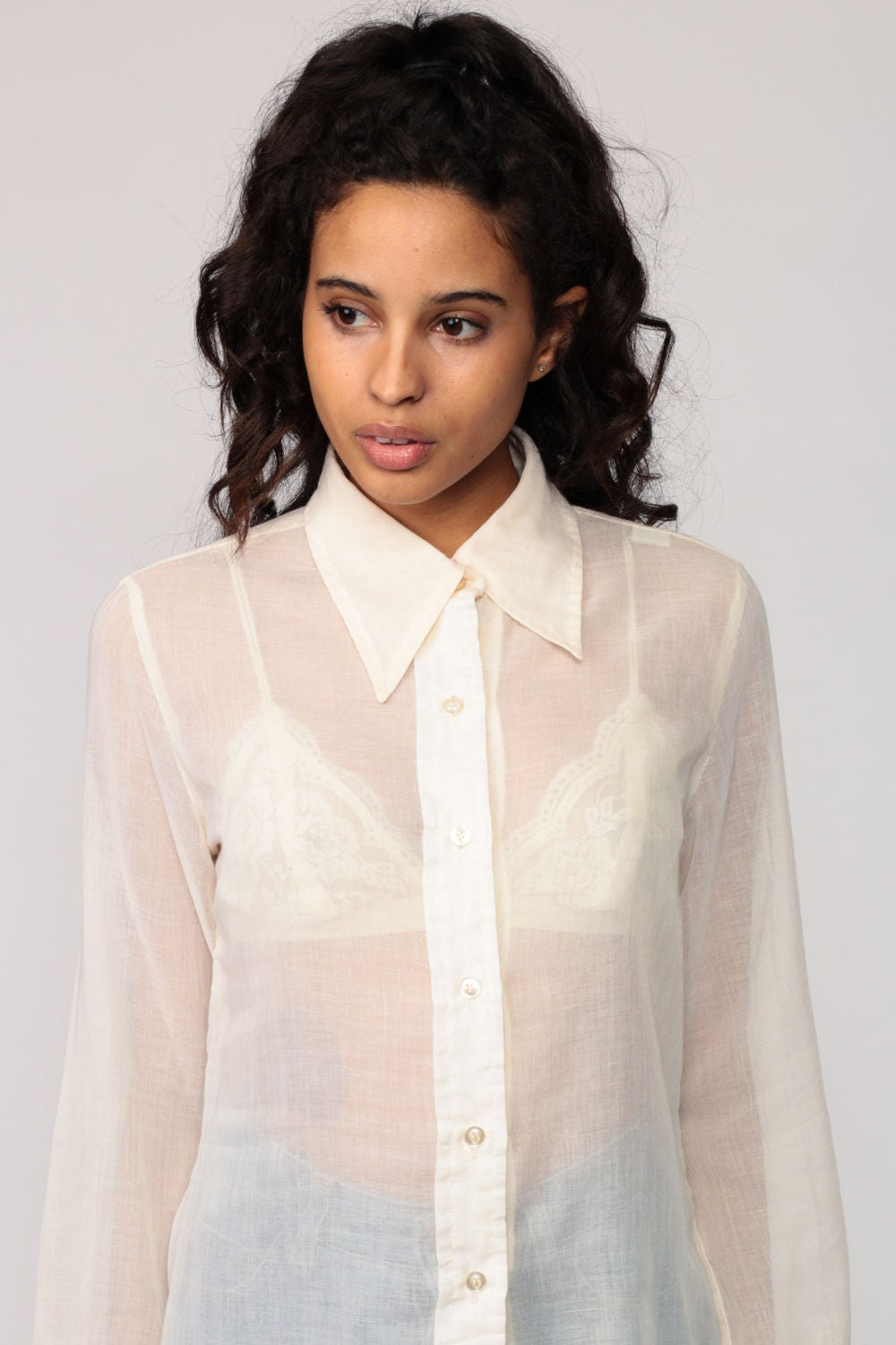 White Sheer Button Up Blouse Anlis
