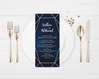 The Rebekah Rustic Starlight Wedding Menu Card