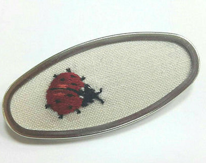 Ladybird Embroidered Brooch Pin