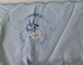 Vintage Destash blue Embroidered pillowcase