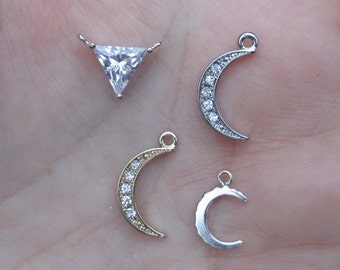 "Sterling Silver Moon Stamping  1"" size you choose the Gauge and quantity"