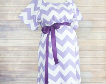 Lavender Chevron Maternity Hospital Delivery Gown -Super Soft -Perfect Snaps for Breastfeeding, Skin to Skin, and Epidural