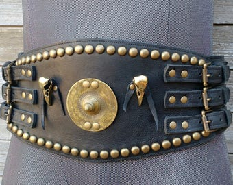 Primitive Tribal Black Leather Wide Belt w Vintage Ethiopian Shield, Metal Raven Skulls and Antiqued Brass Hardware