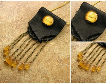 """Namaste black deerskin leather neck pouch with a glass charm,  2 1/2"""" long chain fringe with Czech crystal beads, 34"""" gold leather neck cord"""