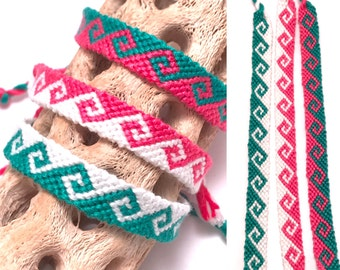 Friendship bracelet - set of 3 - greek wave - tidal wave - pink - green - white - embroidery floss - thread - string - knotted - woven
