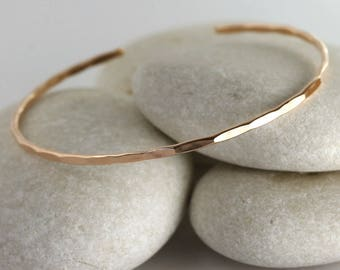 Solid Rose Gold Cuff Bracelet, Hammered Solid Rose Gold Bangle, Simple Stacking Cuff