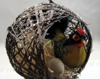 Hen in a Nest with an Egg Christmas Ornament 101