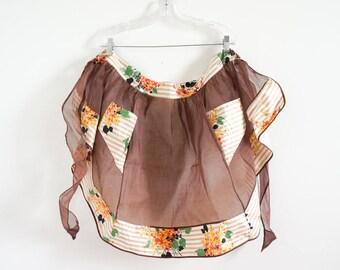 Vintage 1960s Womens Size Medium-Large Apron / Hostess Half Apron VGC Polished Cotton Floral Print Autumnal Colors