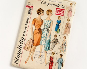 Vintage 1960s Womens Size 14 Seven Day Wardrobe Dress Simplicity Sewing Pattern 4298 Complete / b34 w26 / Casual to Cocktail Dresses