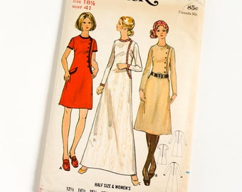Vintage 1970s Womens Size 18.5 Semi-Fitted A-Line Dress in Three Lengths Butterick Sewing Pattern 5990 Complete / b41 w34