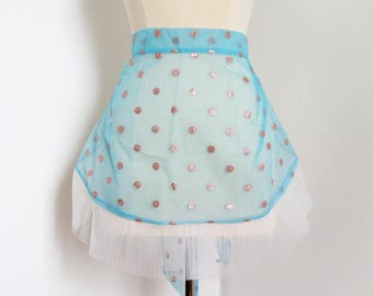 Vintage 1960s Apron Womens Size Small / Hostess Half Apron UNUSED / Turquoise Stiff Nylon, Copper Glitter Polka Dots, Pleated Netting Hem