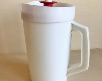 Vintage 2 Quart Tupperware Pitcher with Red Lid