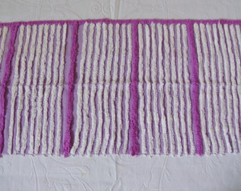 Lavender and Purple Striped Vintage Chenille Bedspread Fabric 11.5 x 31 Inches