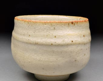 Handmade Stoneware Yunomi Tea Cup glazed with Carbon Trap Shino and My White Shino