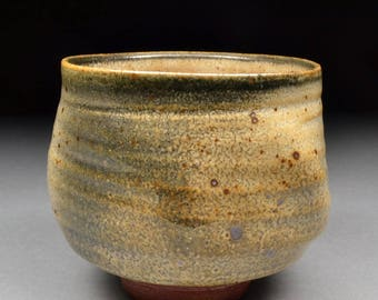 Larger Handmade Stoneware Yunomi Tea Cup Glazed with Carbon Trap Shino