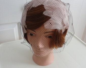 50s Beige/brown  feathers headband  Women Hat One Size Striking Accessory