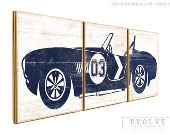 Vintage Rustic Car Decor - Race Car Print in Custom Colors - Boys Room Wall Art