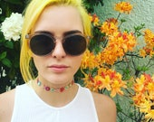 Multi color flower choker