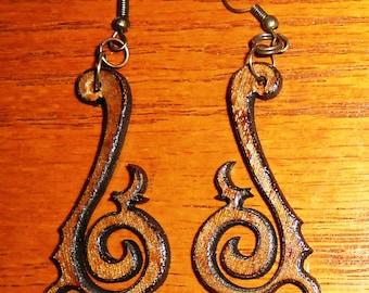Laser-cut steampunk/tribal wood earrings. Style 1 - small