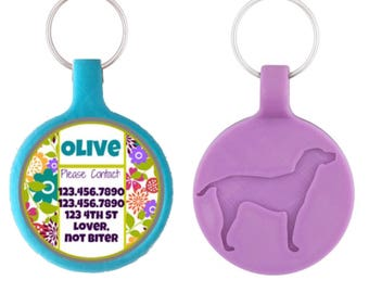 Cute Floral Silver Custom Personalized Dog ID Pet Tag Custom Pet Tag You Choose Tag Size & Colors