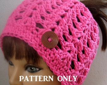 Messy Bun Hat Pattern, SUMMER and SPRING PonyTail Crochet Pattern, SUMMER Crochet  Pattern, Summer Ponytail Hat, Knit and Crochet
