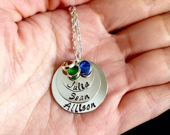 Personalized three layers names mom Necklace w/crystal Gift Hand Stamp
