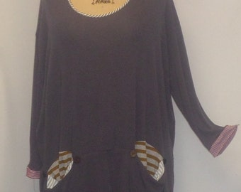 Womens Plus Size Top Coco and Juan Lagenlook Plus Tunic Size Gray Knit Tunic Top One Size Bust  to 62 inches