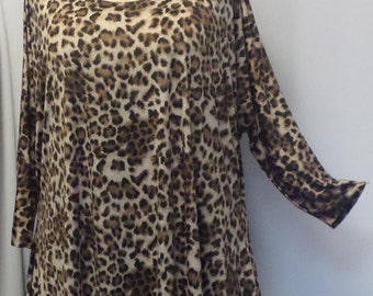 Plus Size Top, Coco and Juan, Lagenlook, Plus Size Tunic, Brown Leopard Print Knit Drape Side Tunic Top One Size Bust  to 60 inches