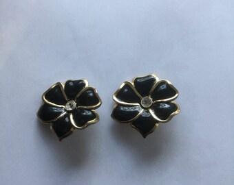 Vintage Large Black Enamel Rhinestone Flower Earrings 1970s