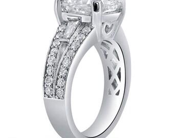 2.54ct CUSHION cut ANTIQUE style prong set diamond engagement ring C23
