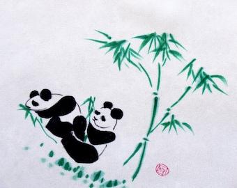 Vintage Handkerchief Panda Silk Hand Painted Black White Green