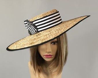 Marina, Kentucky Derby hat,  beautiful boater style straw hat in novelty straw with Black and White stripe ribbon trim