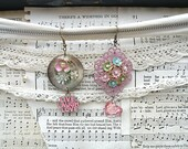 SOLD..mismatched flower earrings assemblage pink upcycled jewelry gypsy garden