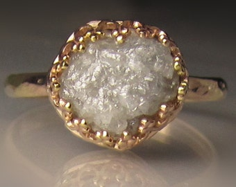 Raw Diamond Engagement Ring 14k Gold - 4.28CTS