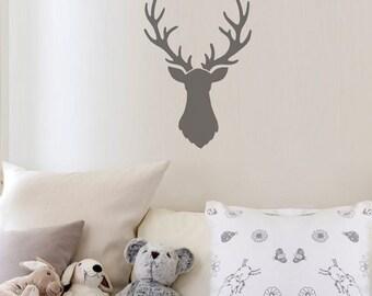 Deer Head Wall Art Stencil - Better than Decals - Great for DIY Nursery Decor