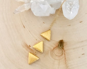New! Ascension gold triangle necklace! Spiritual. Boho chic. Sacred geometry. Gift. Short. Layer