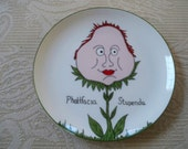 Vintage Home Serving Plate Collectible Phattfacia Stupenda Plate Funny Garden Plate