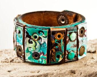 Turquoise Bracelet Leather Jewelry Southwest