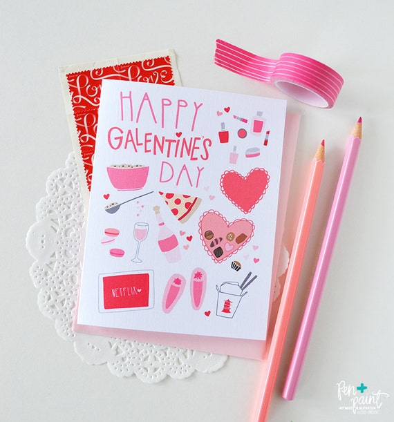 Happy Galentine's Day, BFF, February 13, Girl stuff, Best Friend, Folded Note Cards, Stationery, Heart, Pink, Girl's Night, Chocolate, Wine