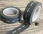30% OFF Washi Tape - 15mm - Charcoal Off Road Offset Stitching - Deco Paper Tape No. 270