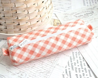 White and Coral Plaid Pencil Case Geometric Boxy Pouch Coral Gingham Print