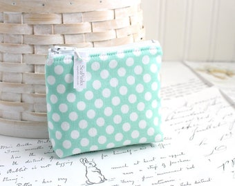Blue and White Polka Dot Coin Purse Small Polka Dot Coin Purse Blue Change Purse Card Holder Zipper Pouch