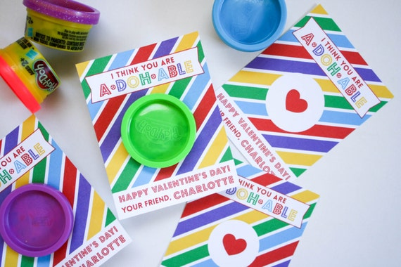 play doh valentines - diy printable