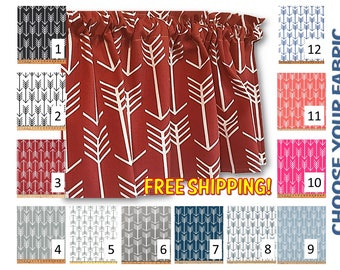Premier Prints Arrow Valance or Curtains in your choice of fabric -  Lined or Unlined - FREE Domestic Ship