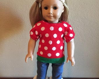 18 Inch Doll Clothes Polka Dot Christmas Sweater Outfit