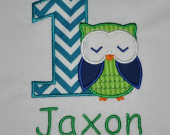 Birthday Boy Outfit - Monogrammed/Personalized First Birthday Boy Owl Appliqued Body Suit or T-shirt, Sizes 12, 18, 24 month