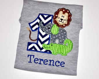 Birthday Boy Outfit - Personalized First Birthday Safari Zoo Animals Appliqued Grey T-shirt, Sizes 12, 18, or 24 month